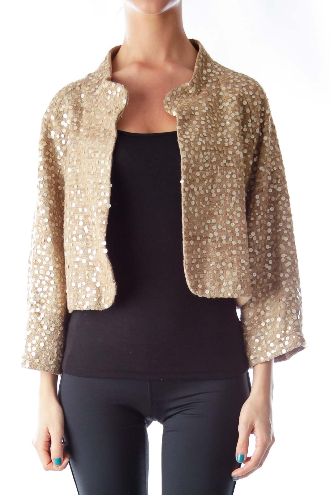 Gold Sequin Crop Jacket Front