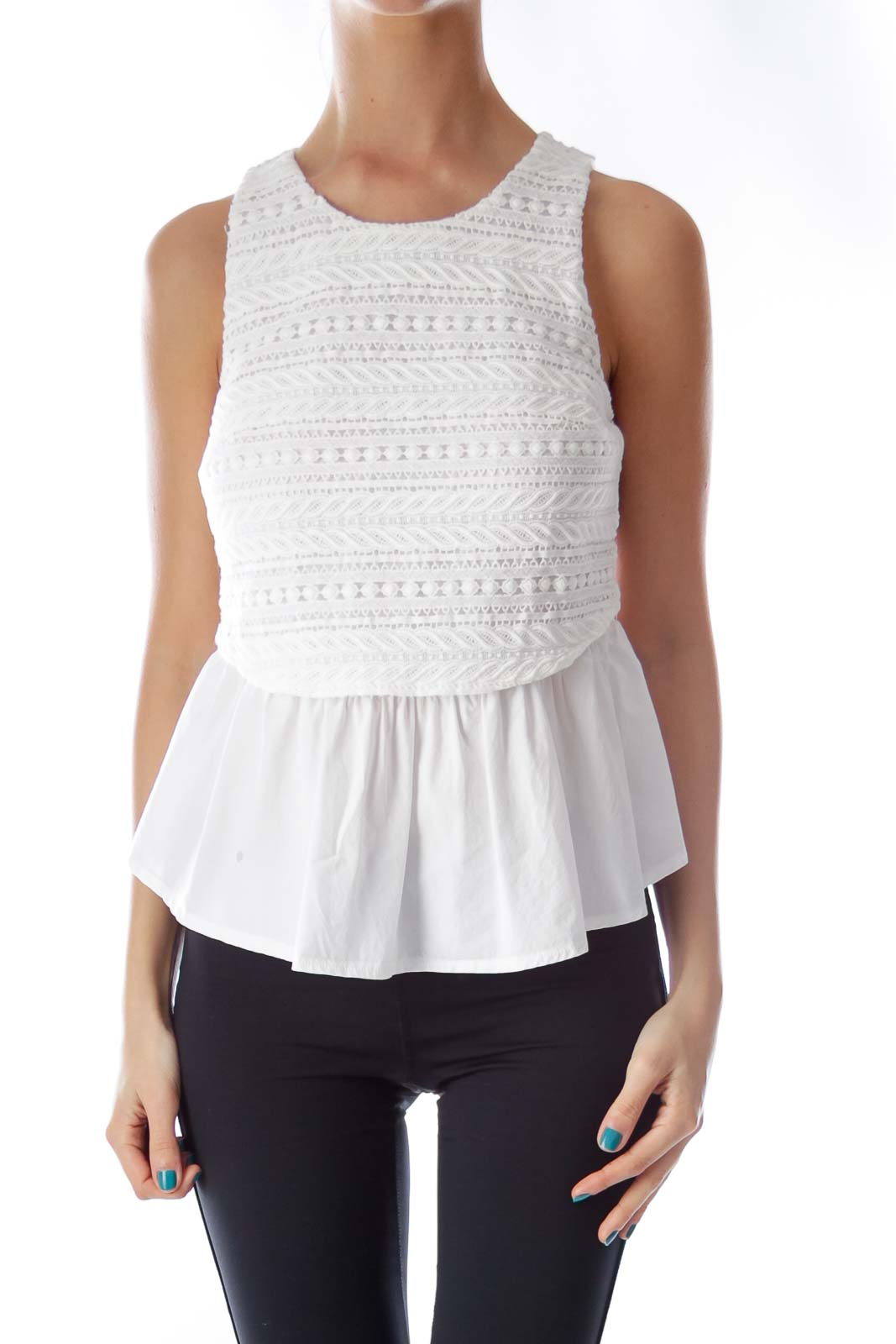 White Lace Layer Shirt Front