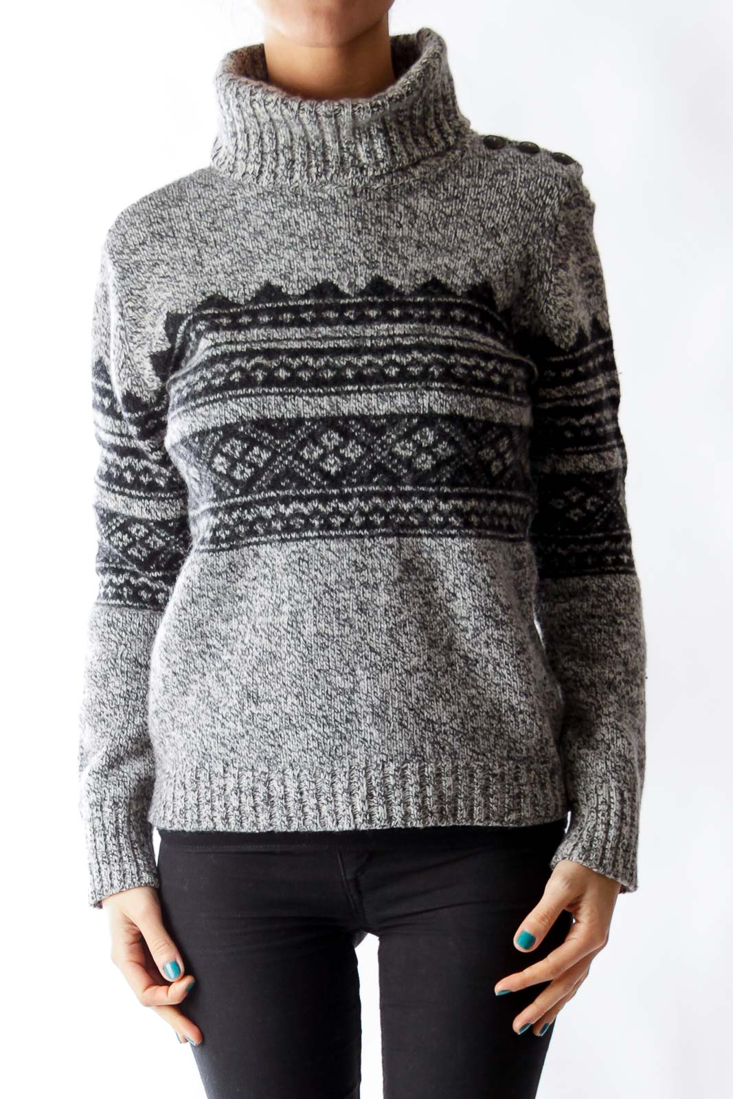 Gray & Black Merino Sweater Front