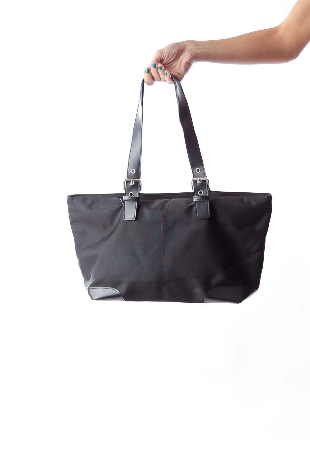 Black Nylon Tote Bag Front