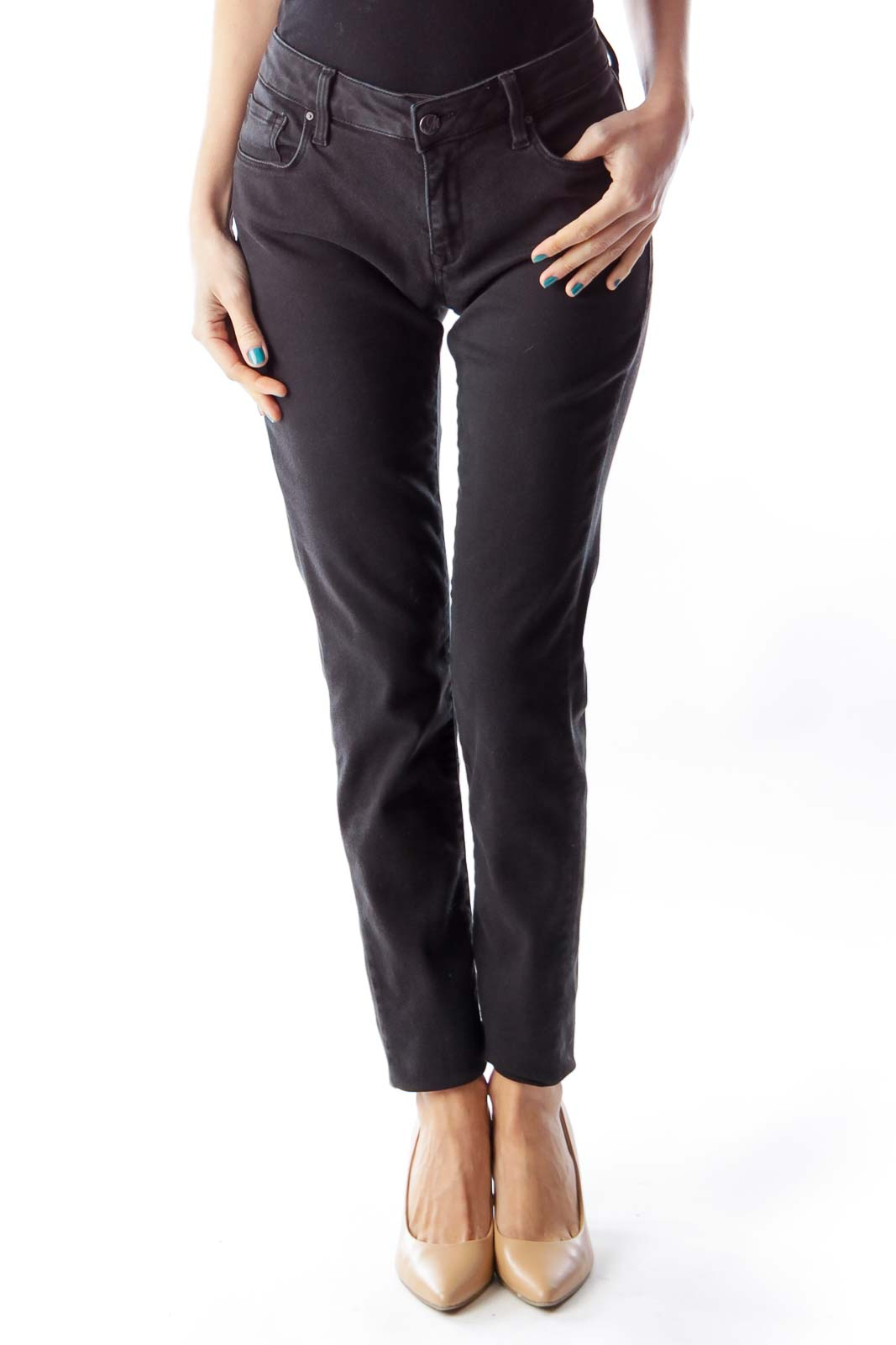 Black Alexa Skinny Jeans Front