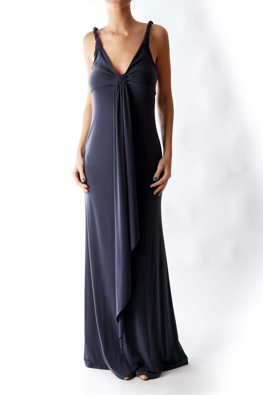 Gray Braid Maxi Dress Front