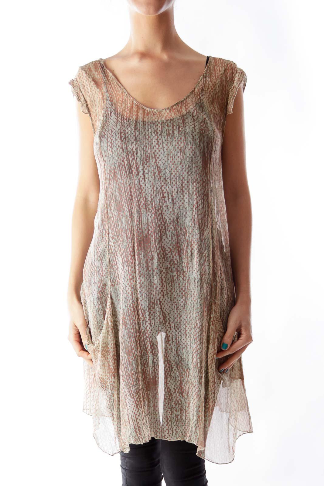 Beige Print See Through Dress Front