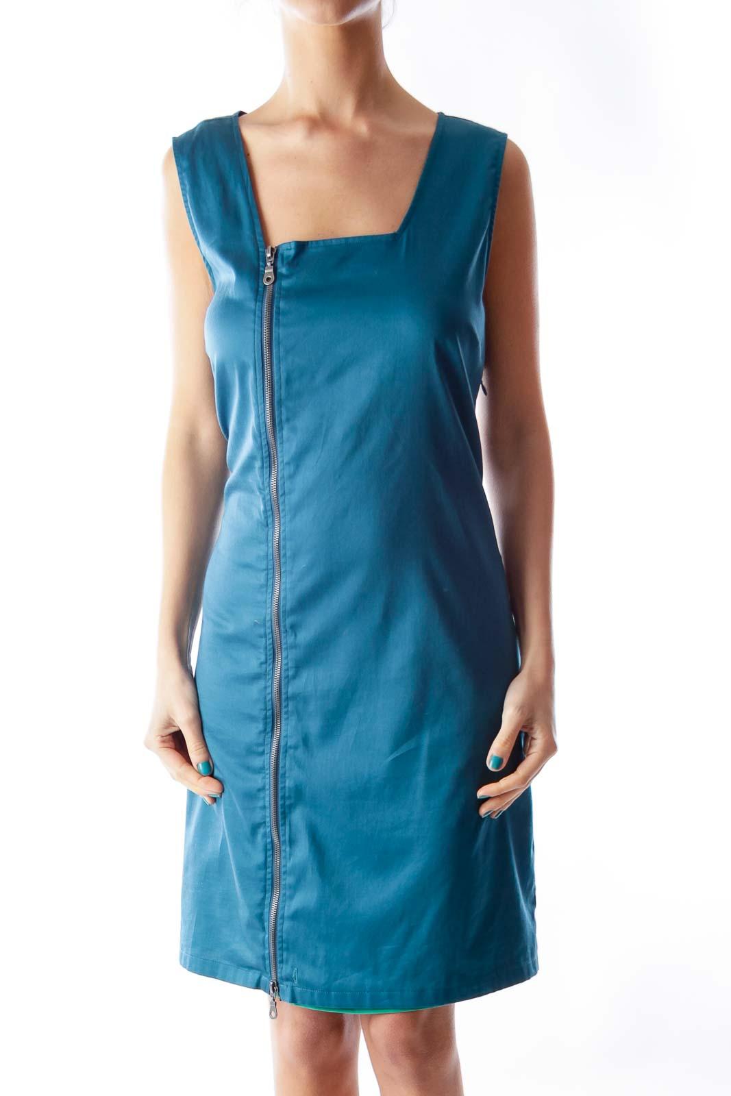 Blue Side Zipper Dress Front