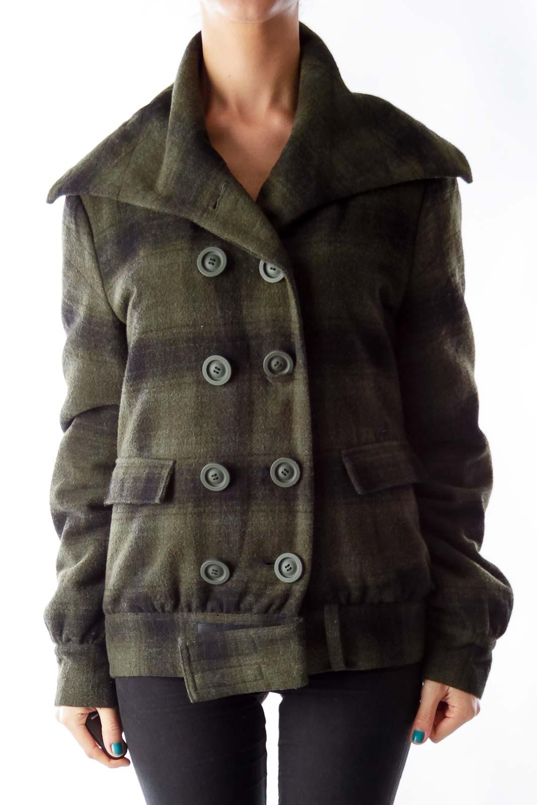 Dark Green Plaid Jacket Front