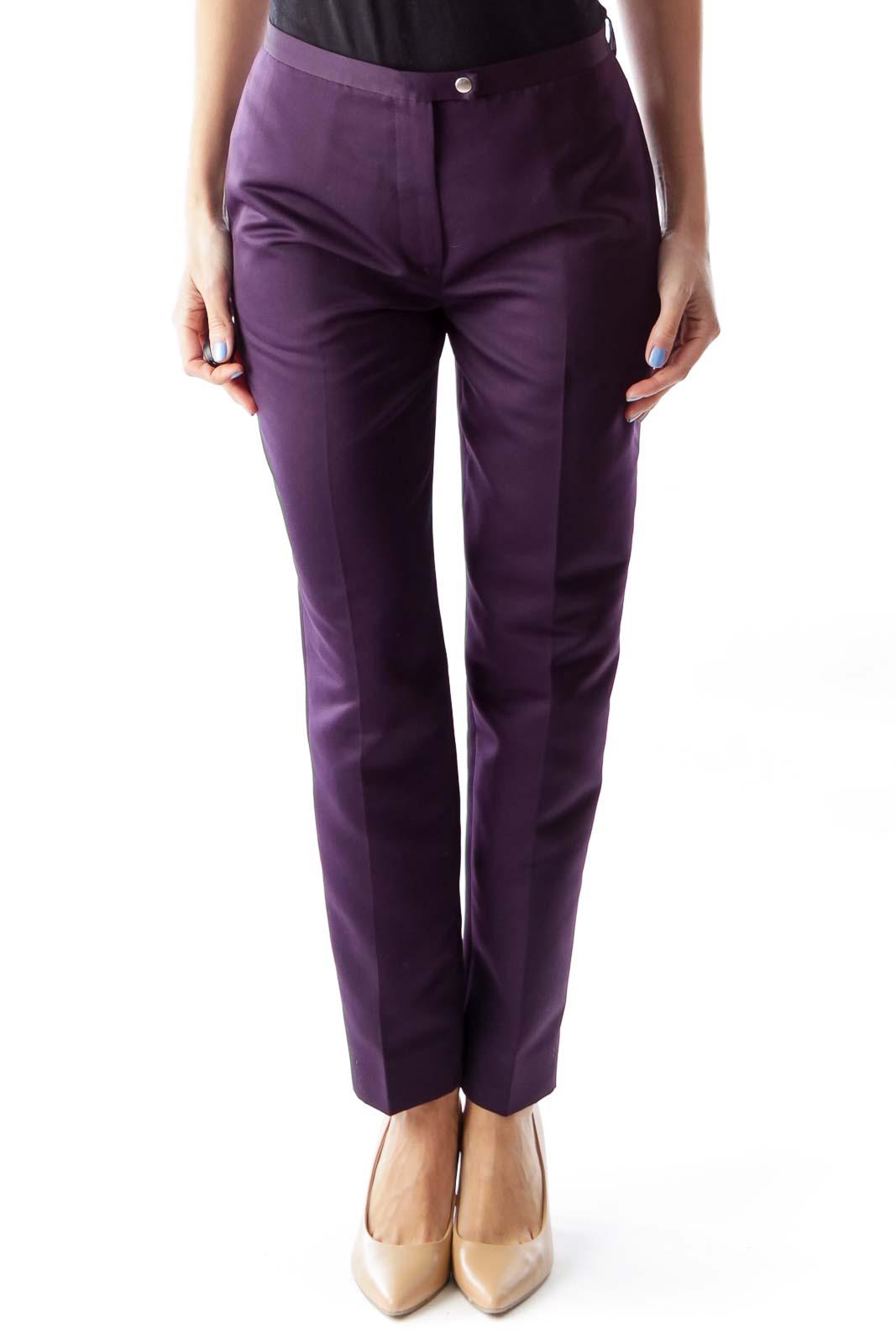 Purple Straight Pants Front