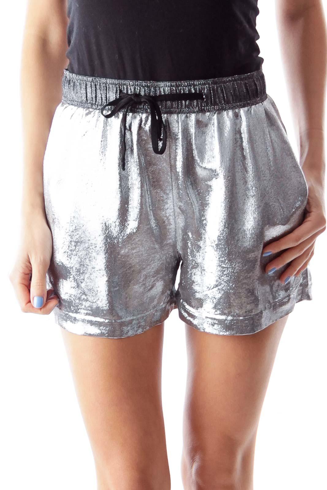 Silver Metallic Shorts Front