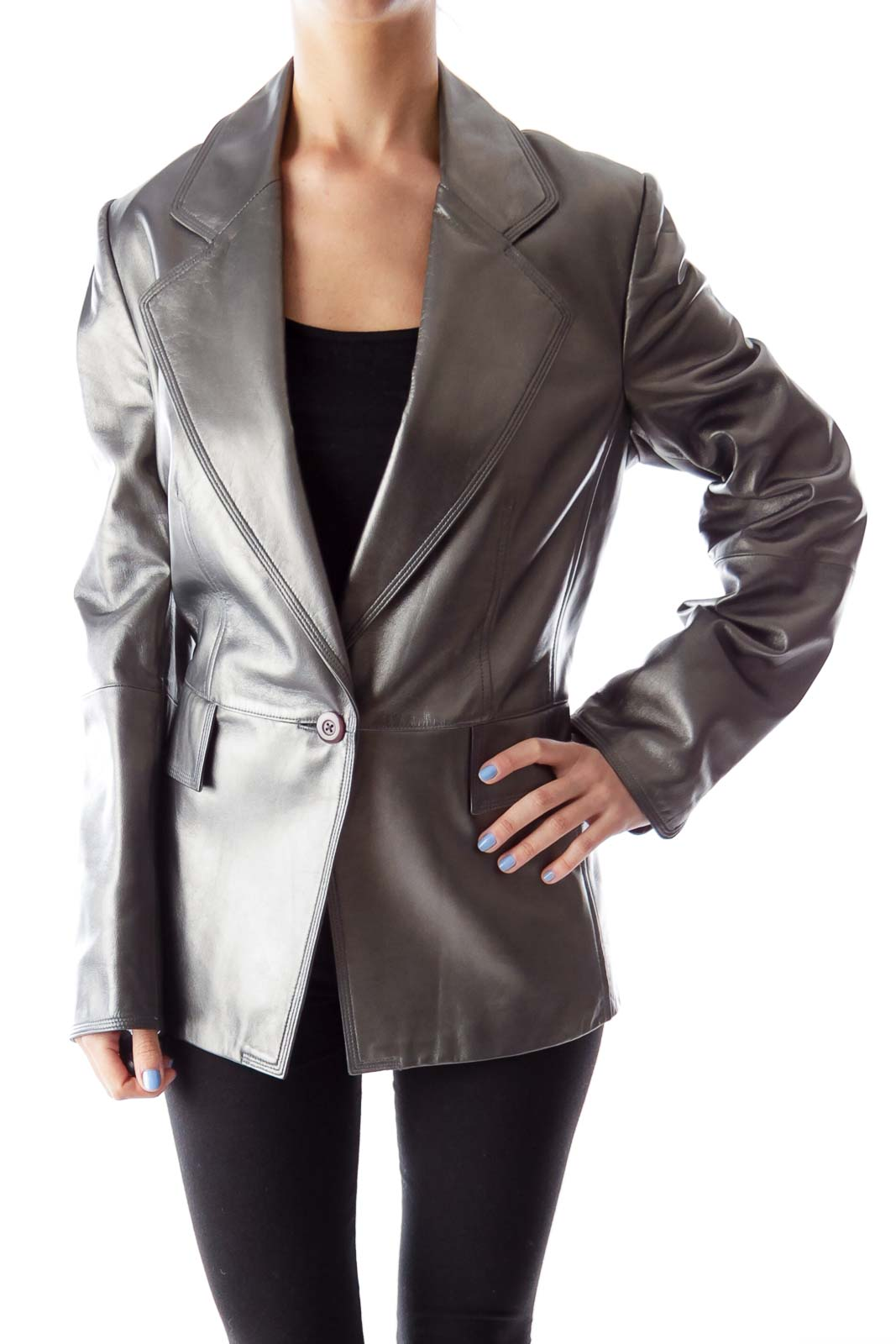 Silver Metallic Leather Jacket Front