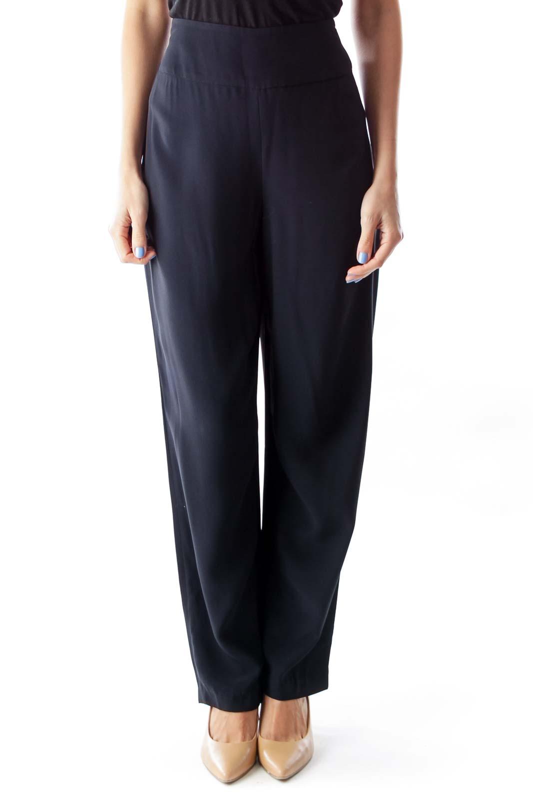 Black High Waist Pants Front