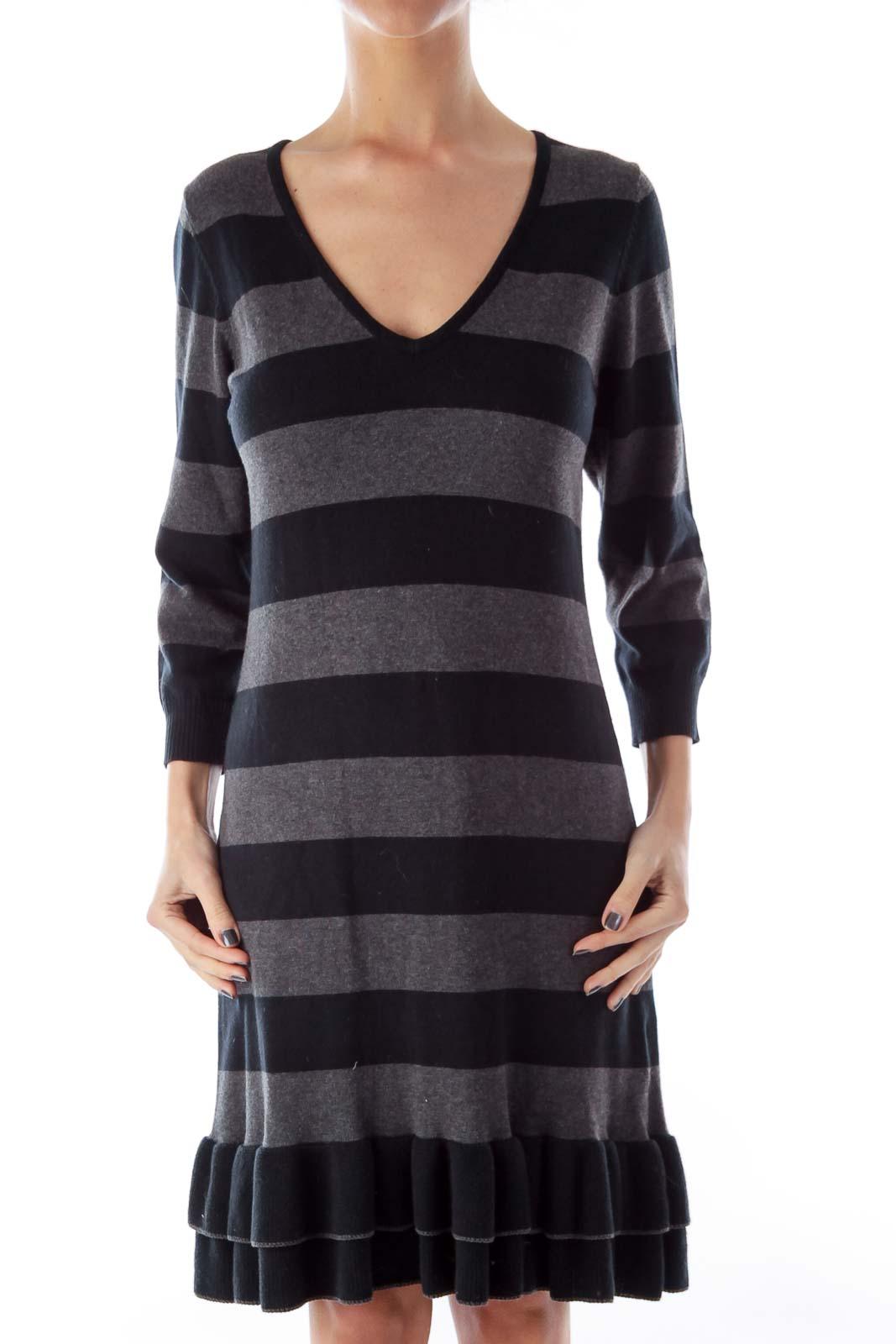 Black & Gray Stripe Knit Dress Front