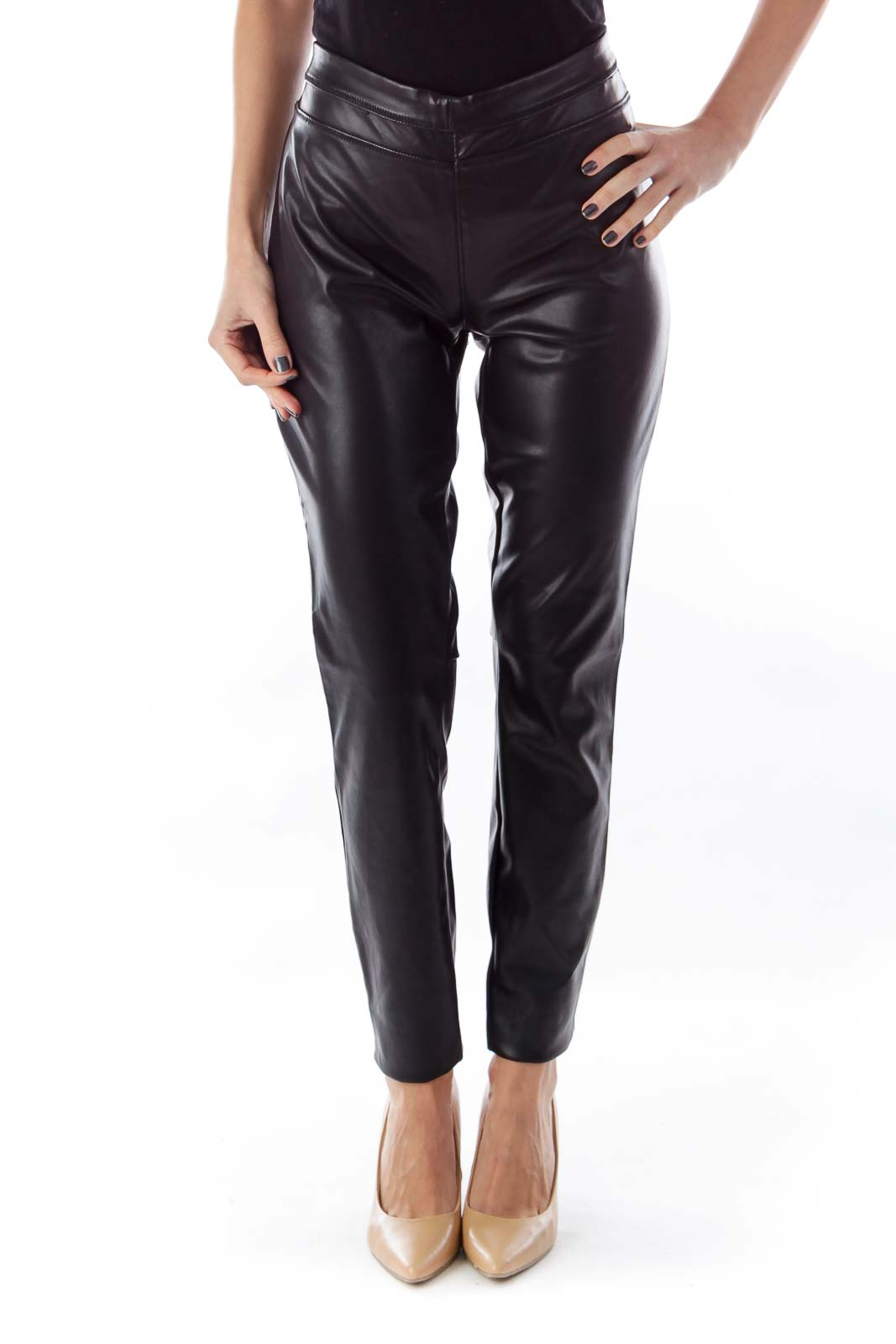 Black Faux Leather Pants Front