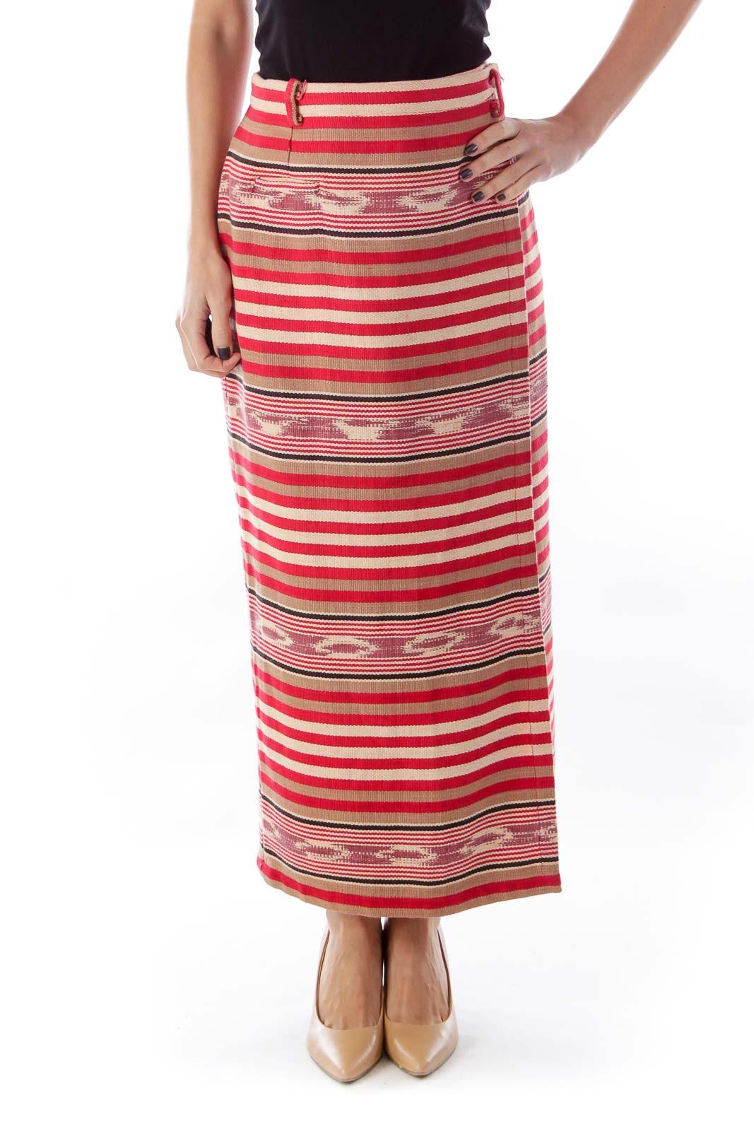 Red Stripe Vintage Skirt Front