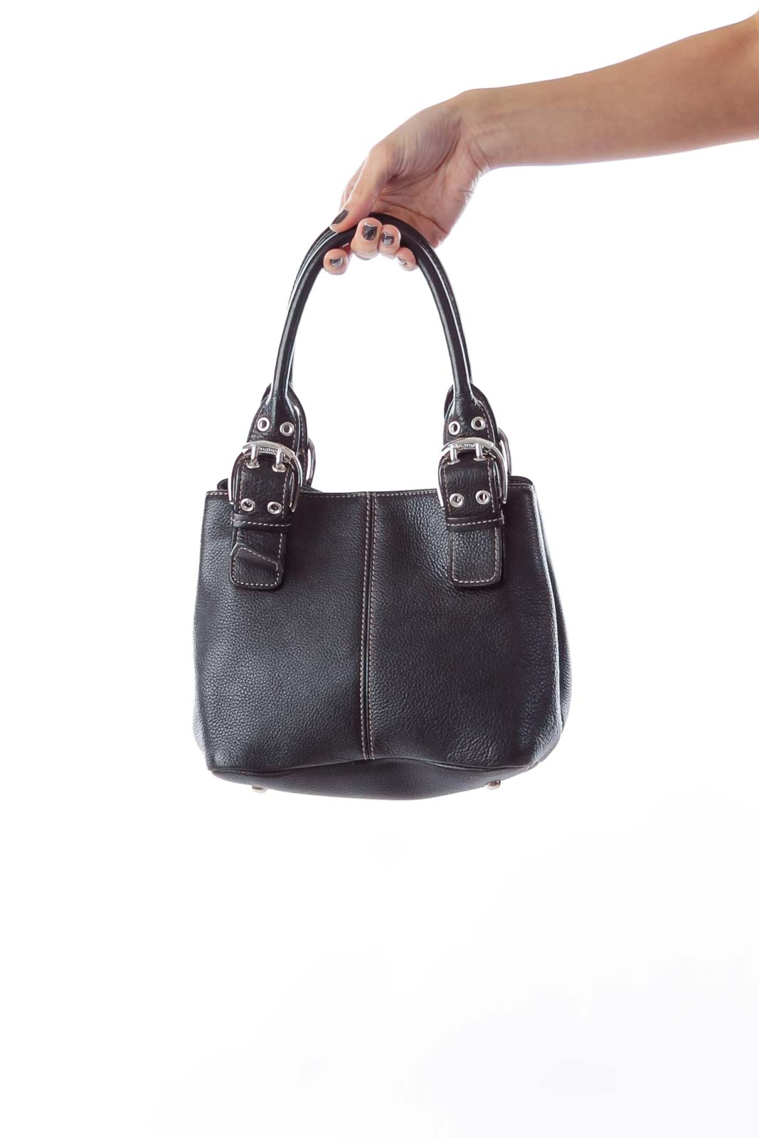 Black Mini Leather Bag Front