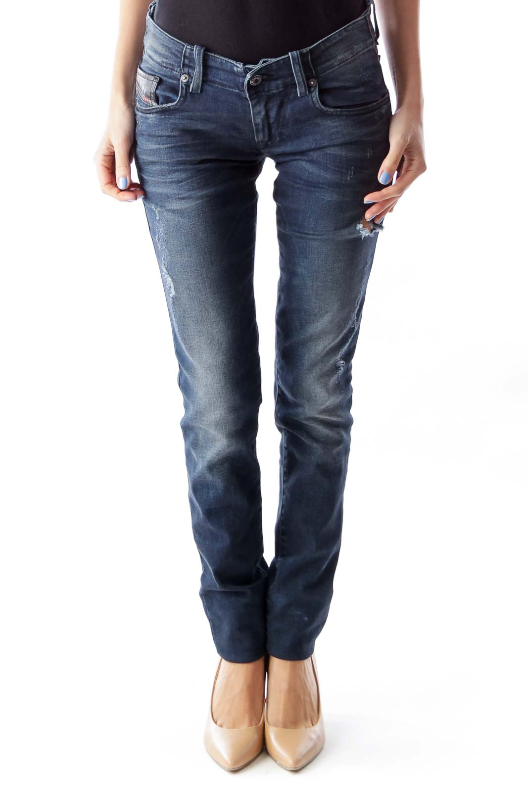 Blue Distressed Skinny Jeans Front