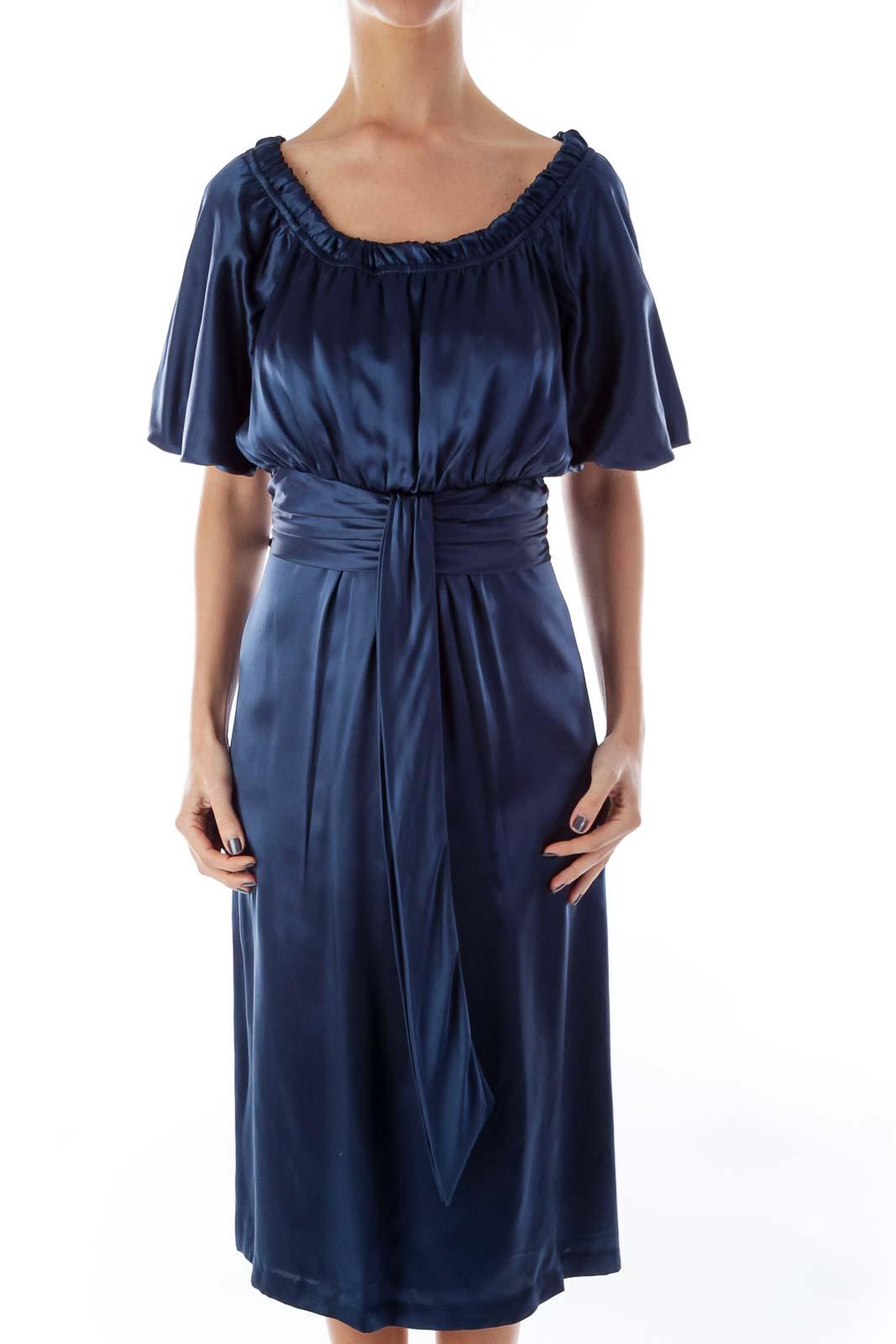 Blue Silk Empire Dress Front