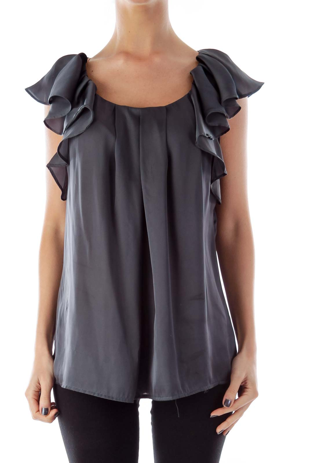 Gray Ruffle Top Front
