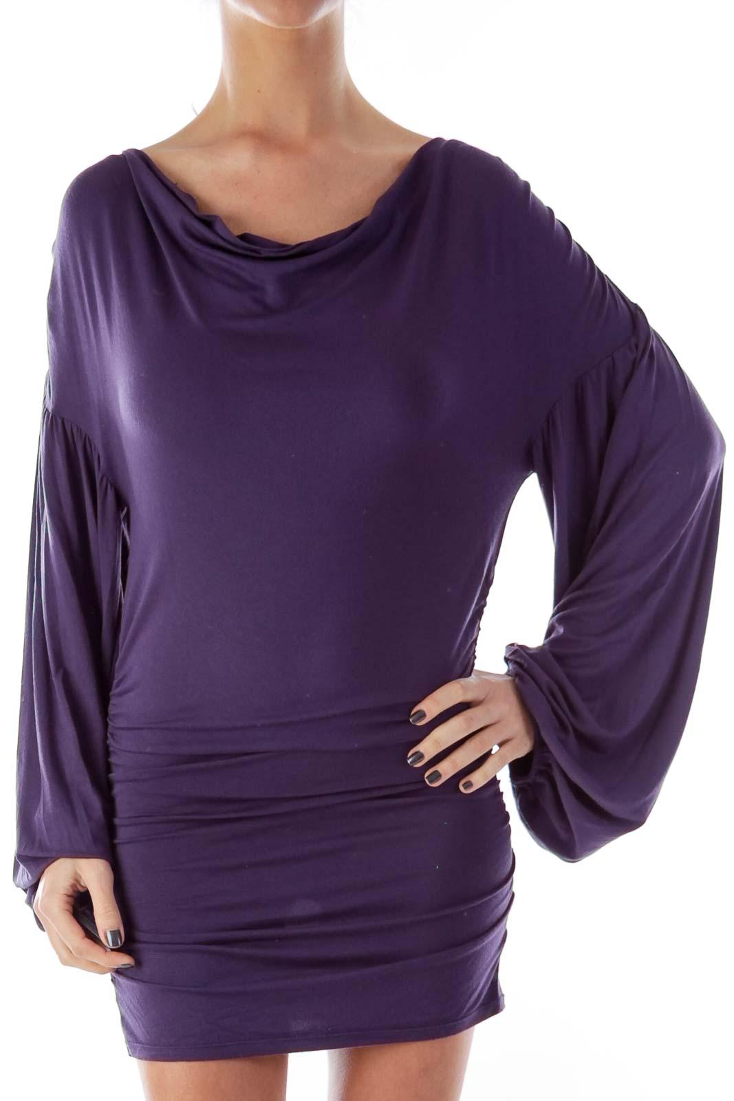Purple Ruffle Side Dress Front