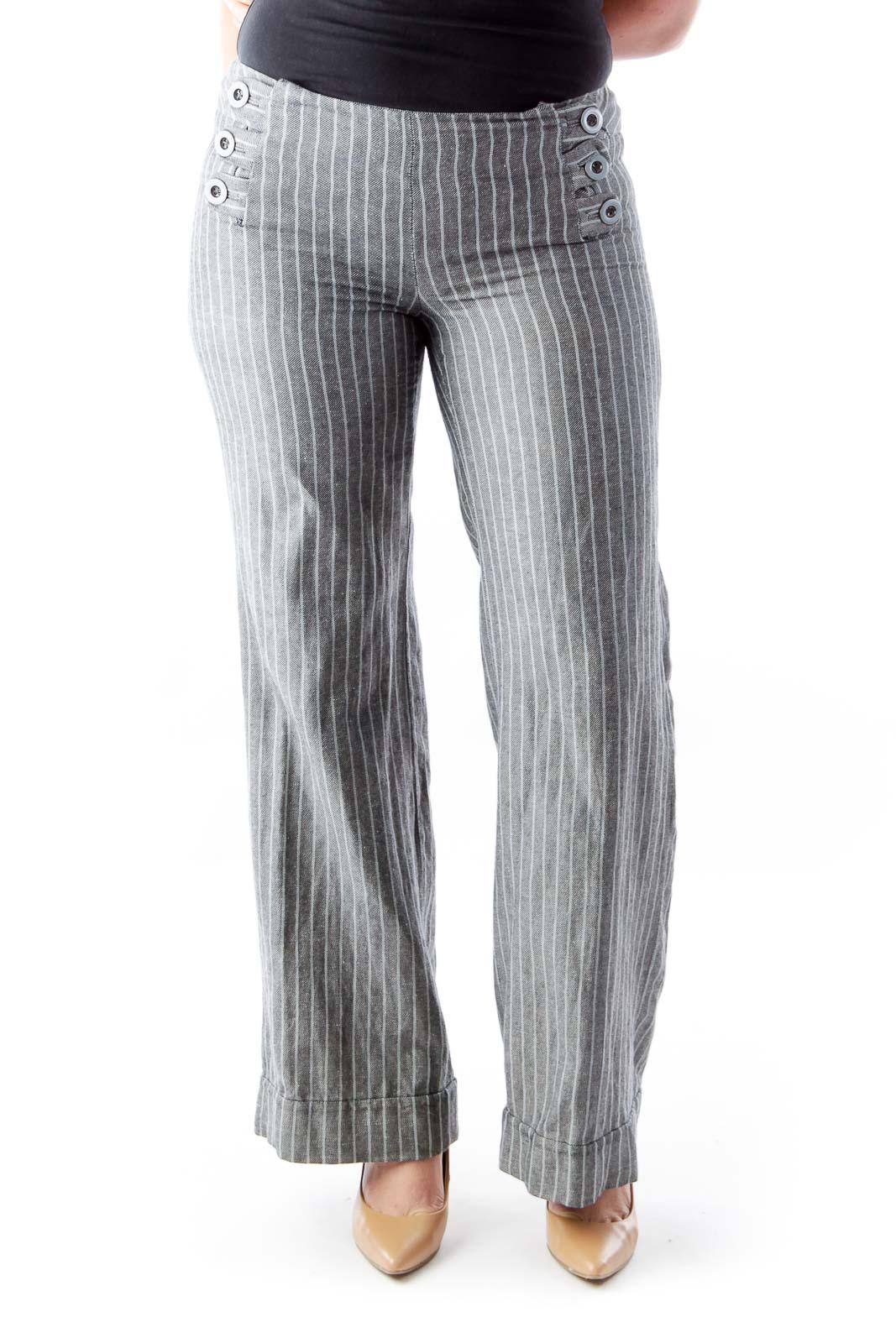 Gray Stripe Pantalone Front