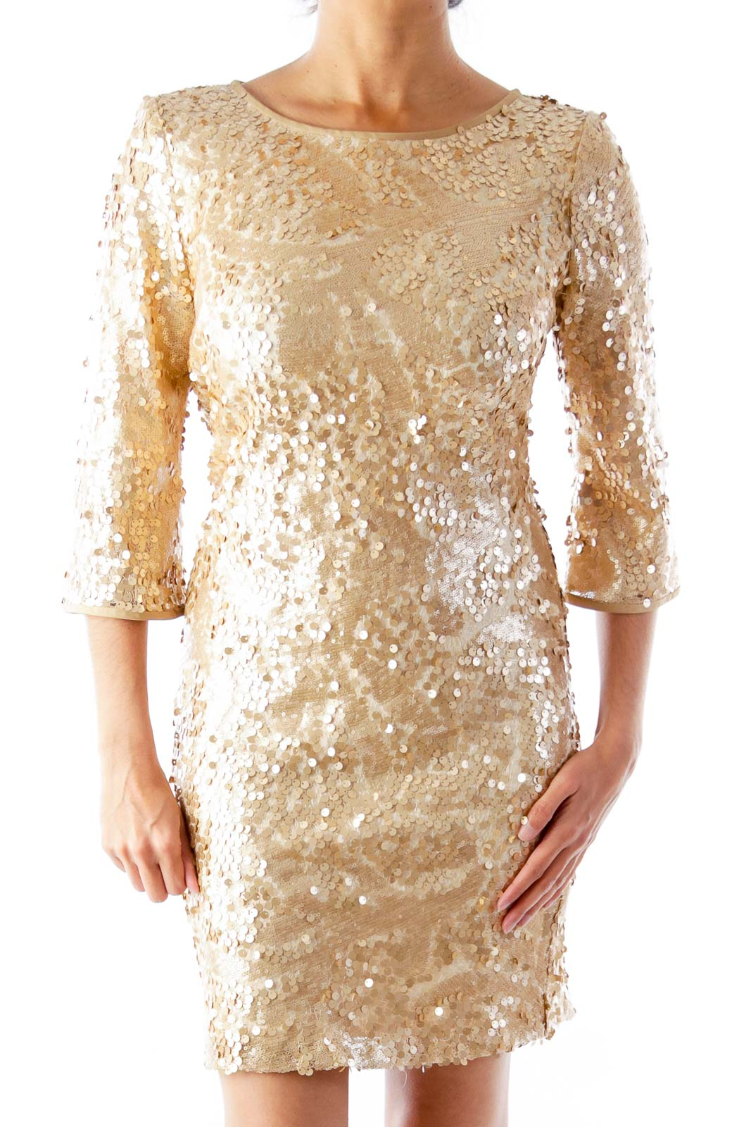 Gold Sequin Dress Front