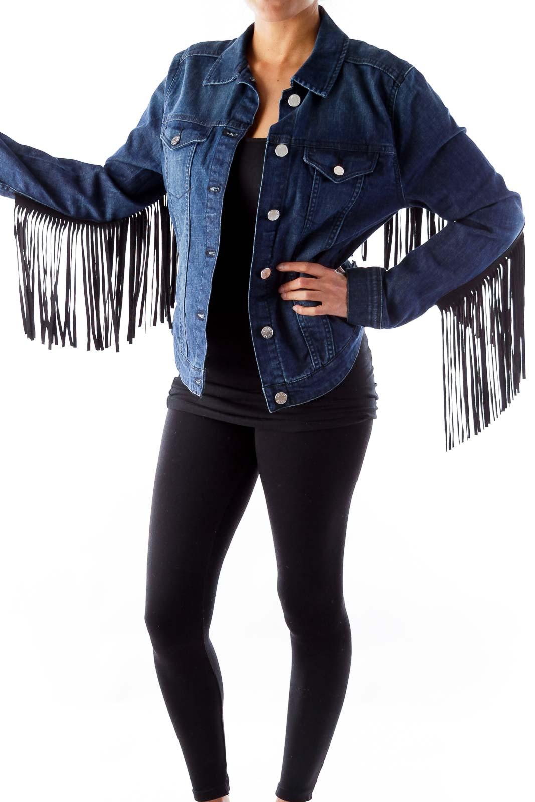 Blue Denim Fringe Jacket Front