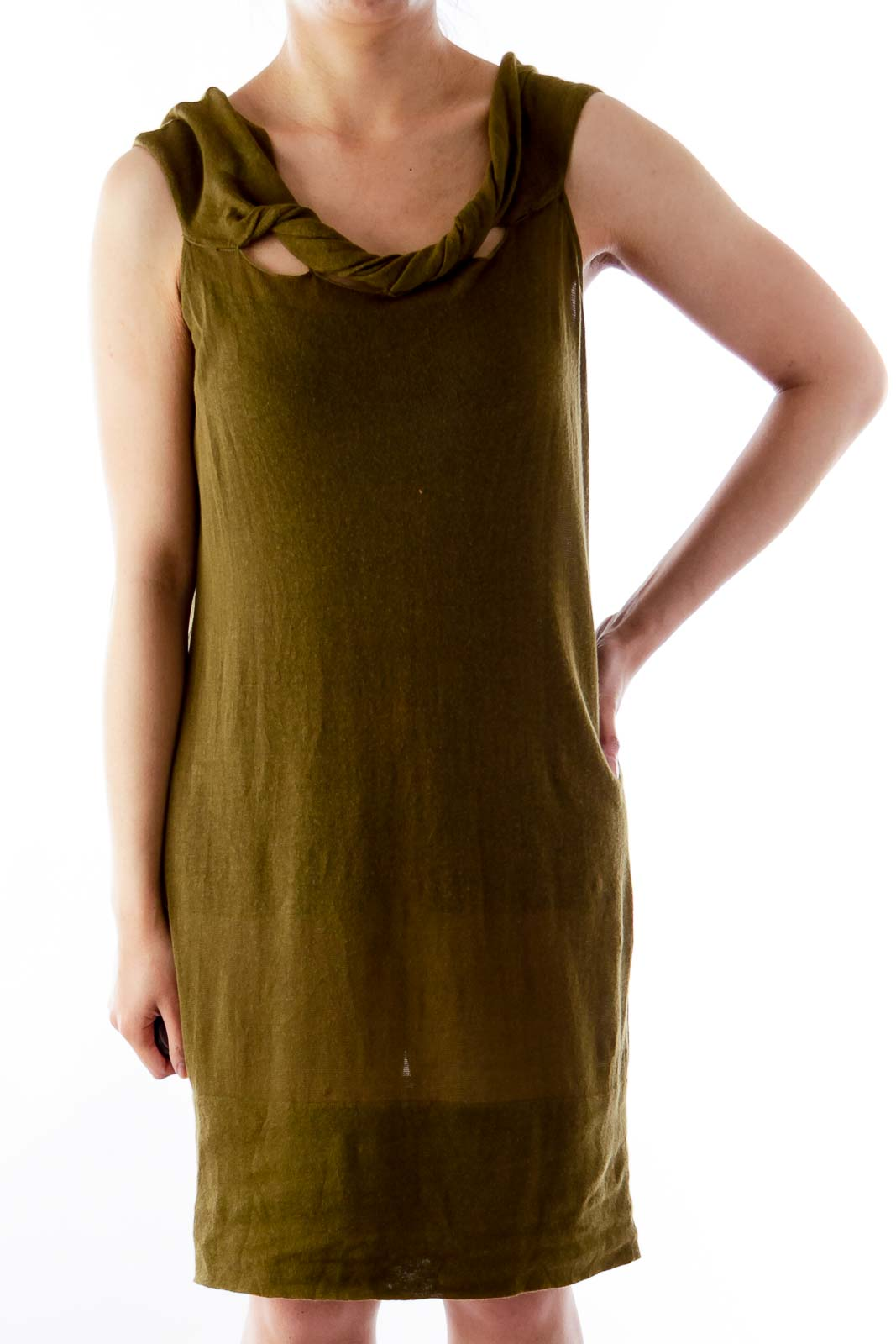 Army Green Open Back Shirt Front