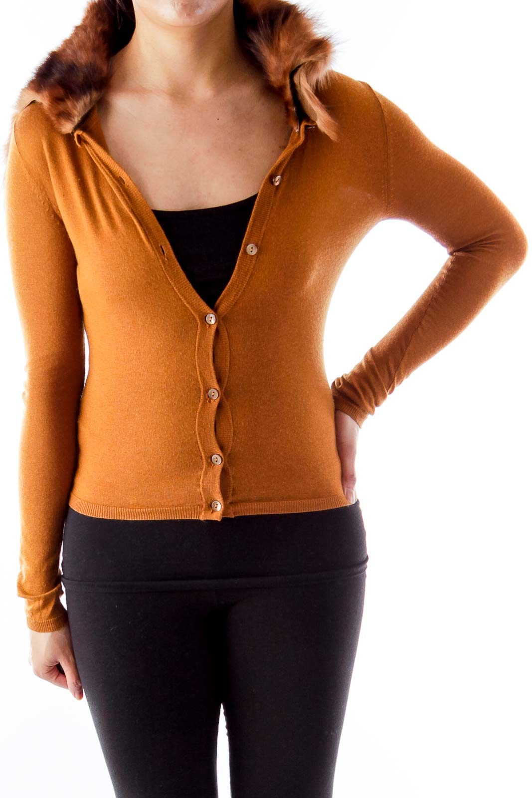 Brown Fur Collar Sweater Front