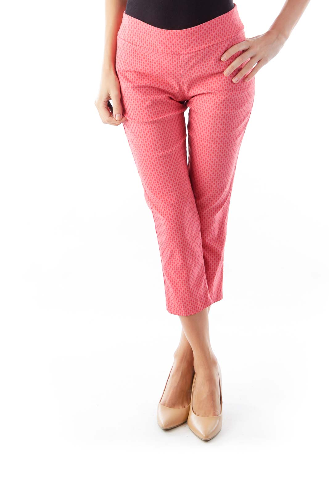 Pink Print Crop Pants Front