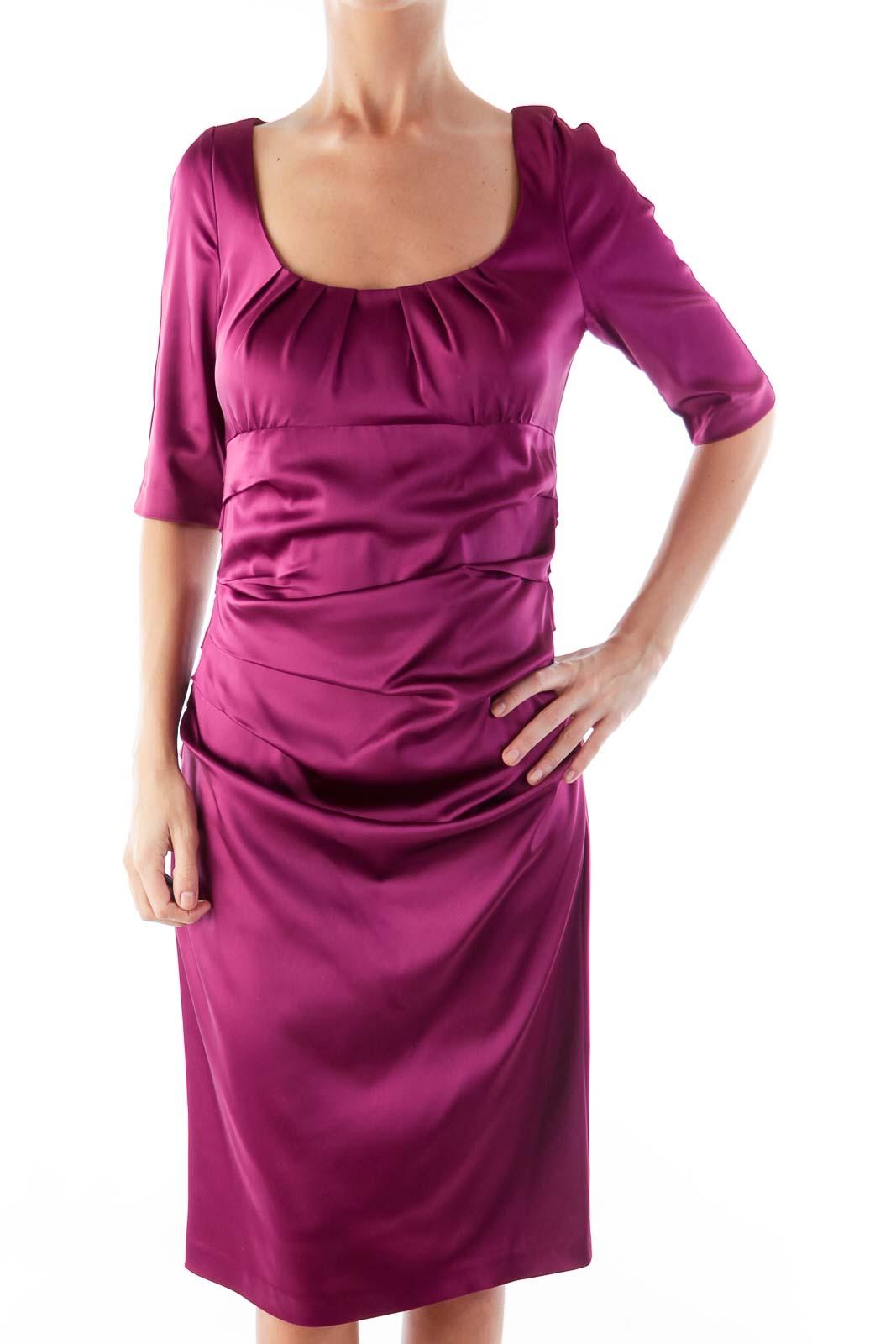 Purple Draped Dress Front