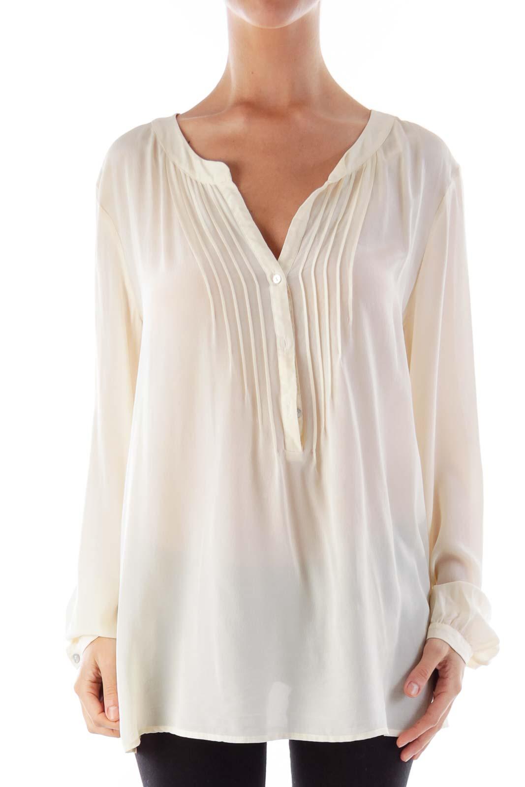 Beige Silk Blouse Front