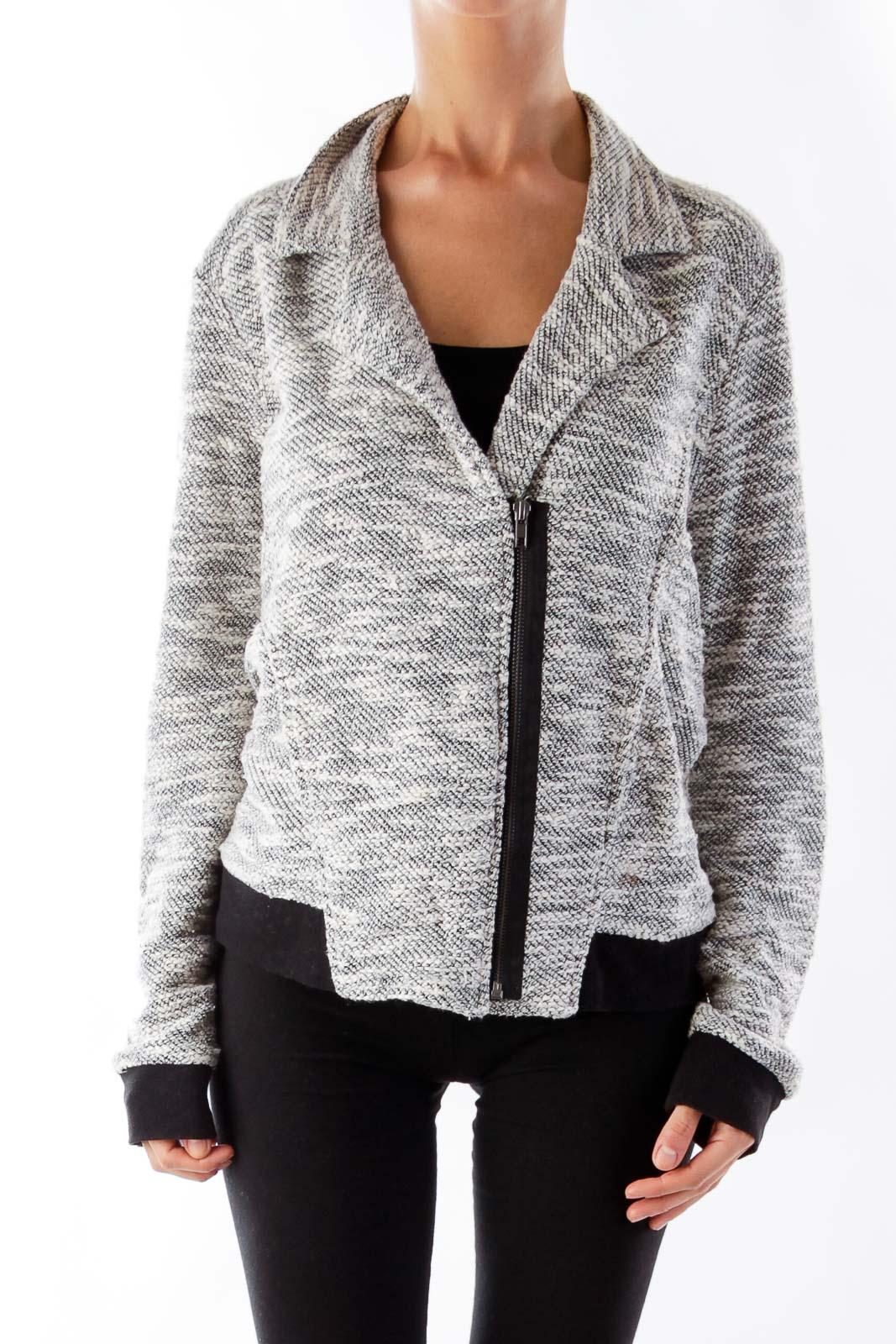 Black & Withe Zipper Jacket Front