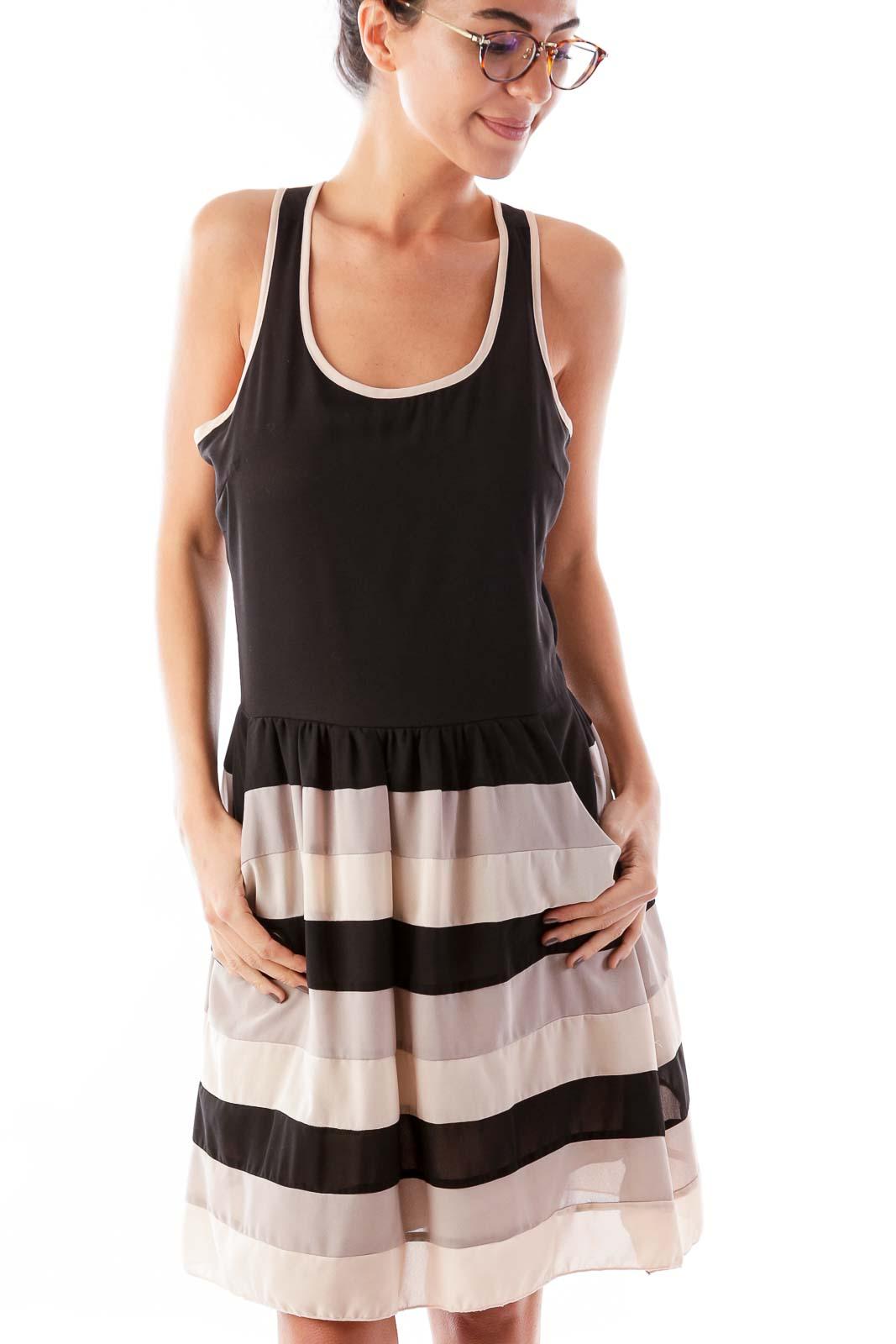 Black Striped Racerback Dress Front