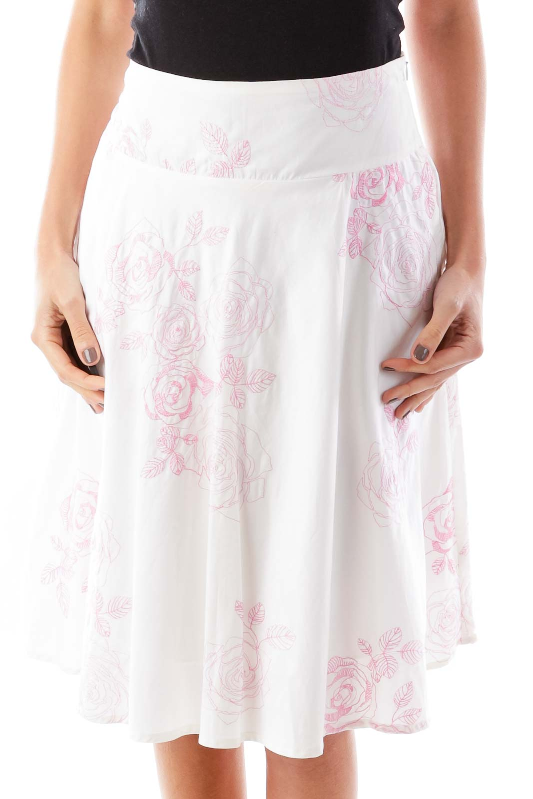 White & Pink Embroidered Floral Skirt Front