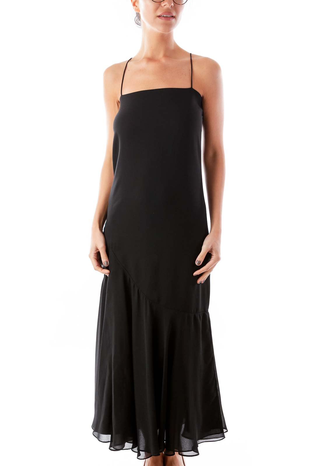 Black Long Cocktail Dress Front
