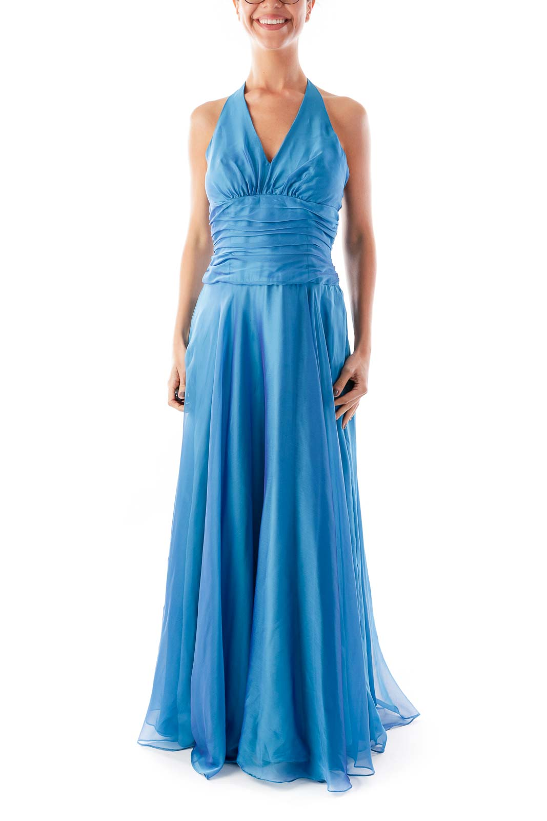 Blue Chiffon Halter Gown Front