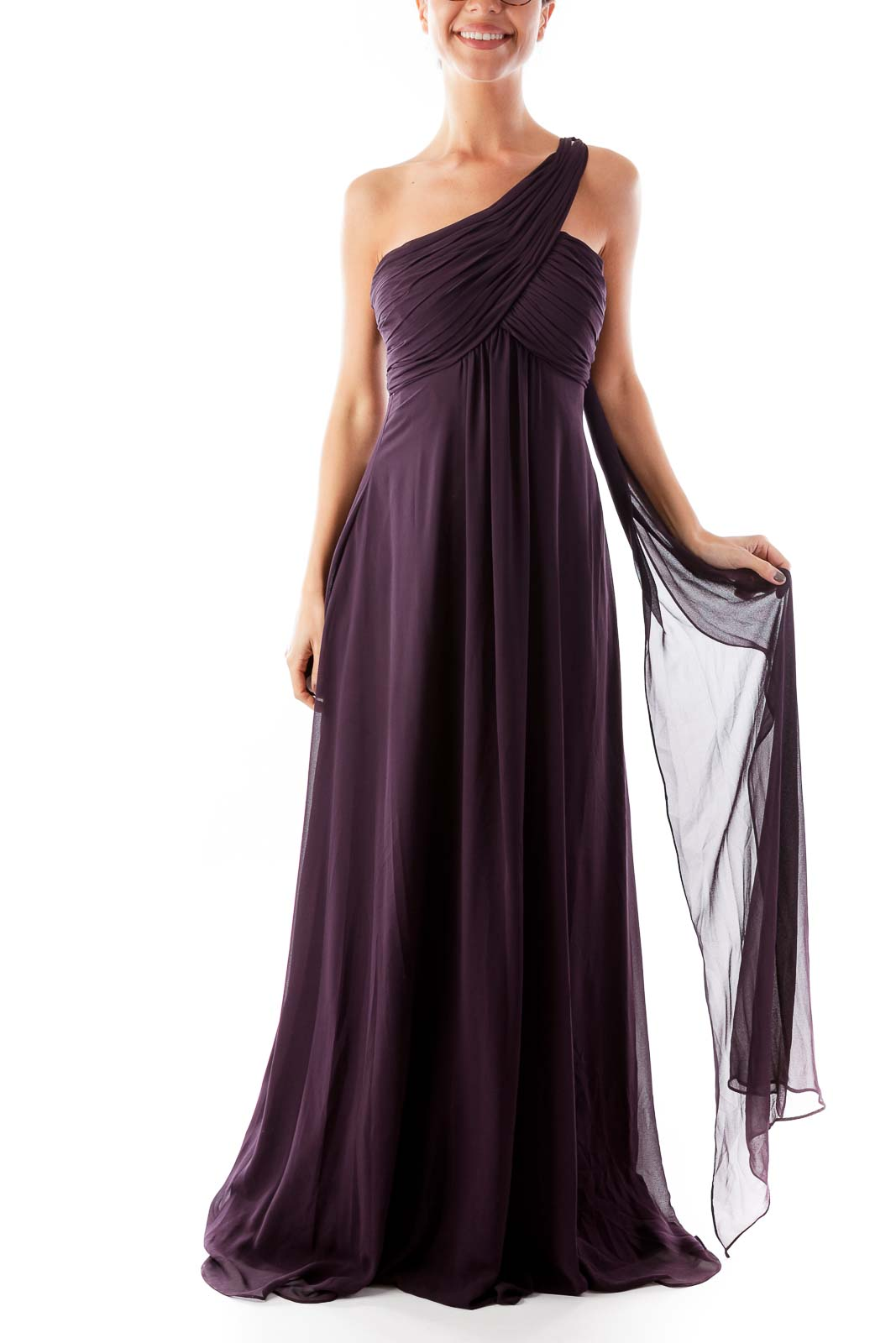 Purple One Shoulder Gown Front