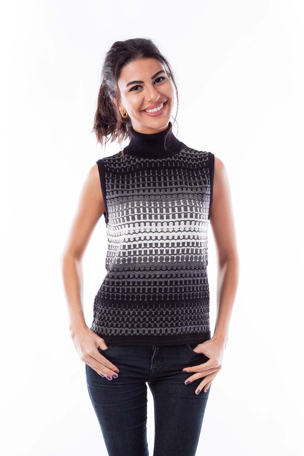 Gray and Black Knit Vest Front