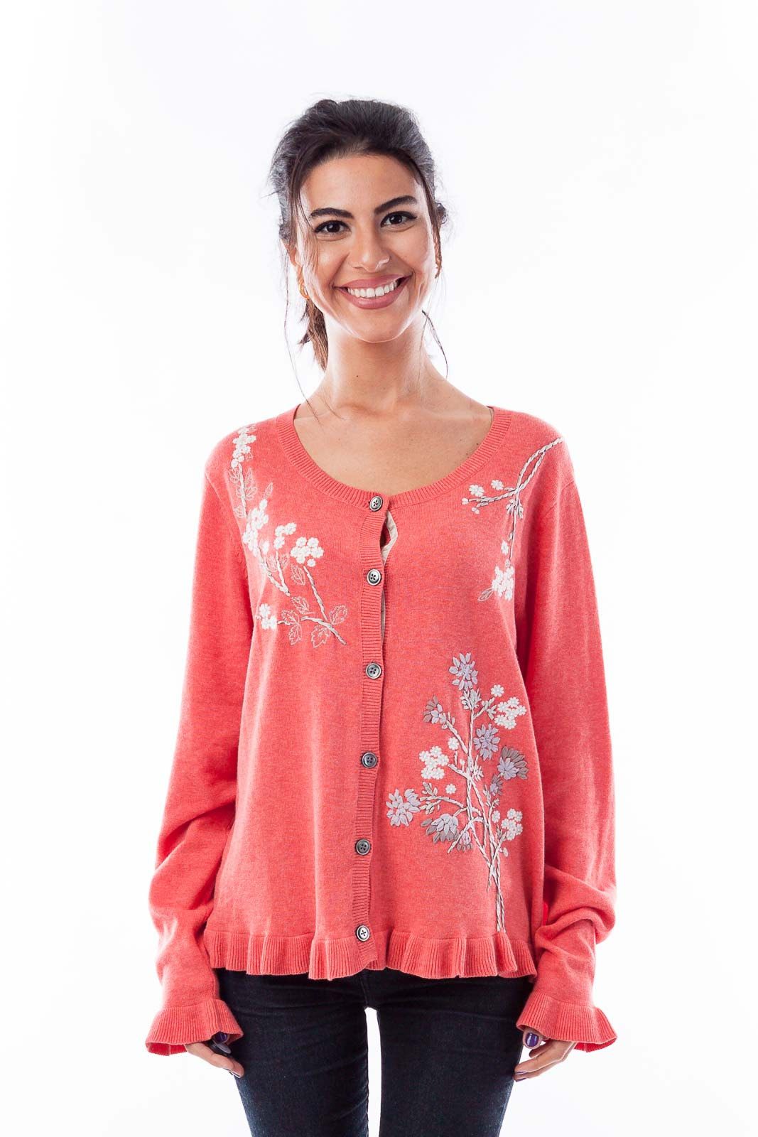 Coral Floral Embroidered Cardigan Front