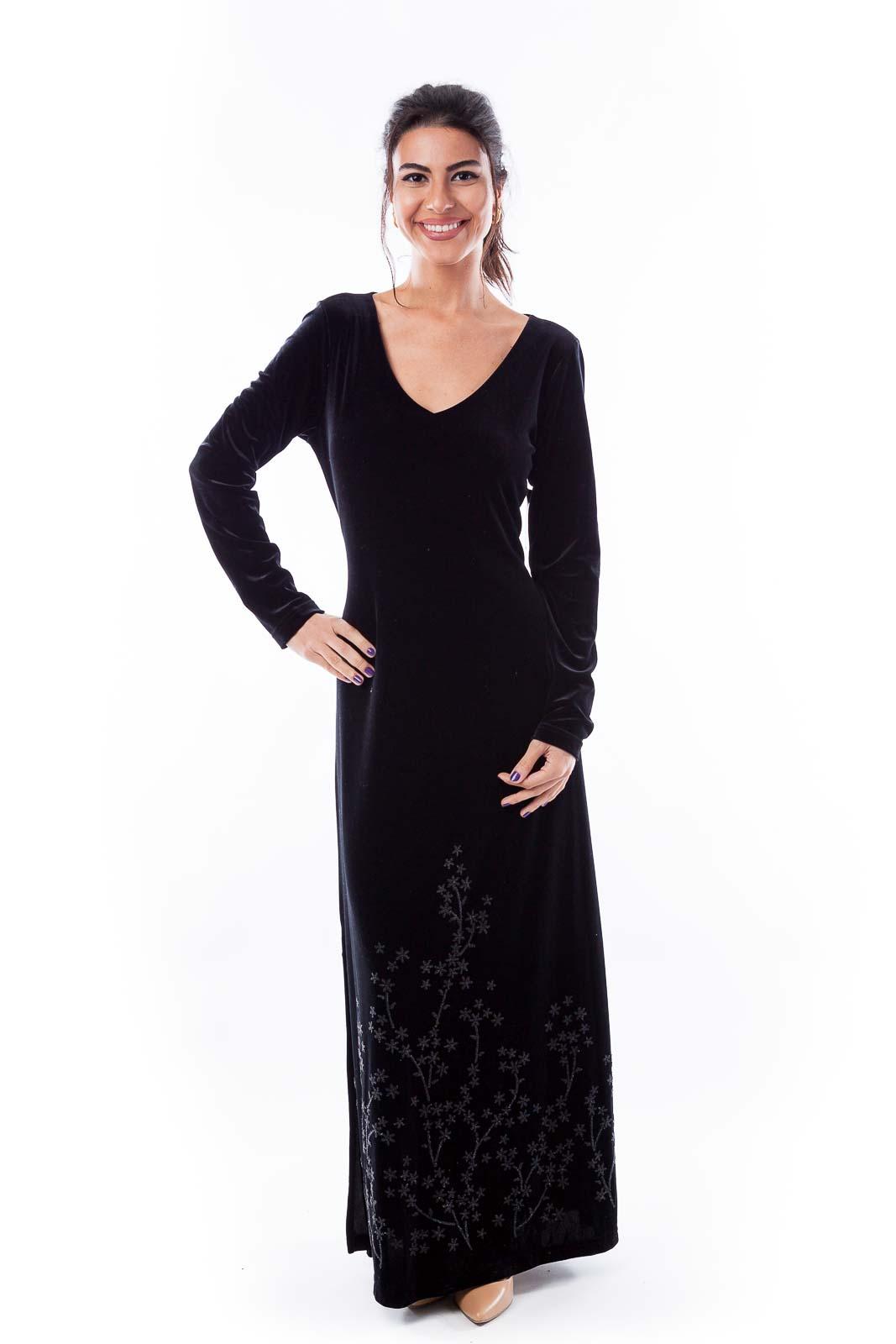 Black Velvet Beaded Dress Front