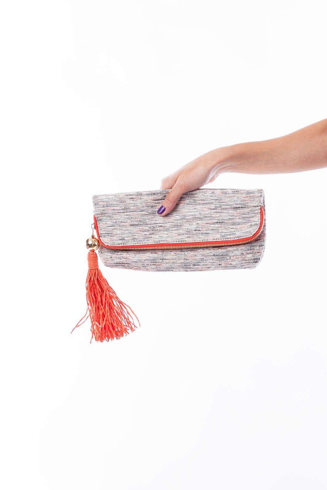 Silver and Orange Clutch Front