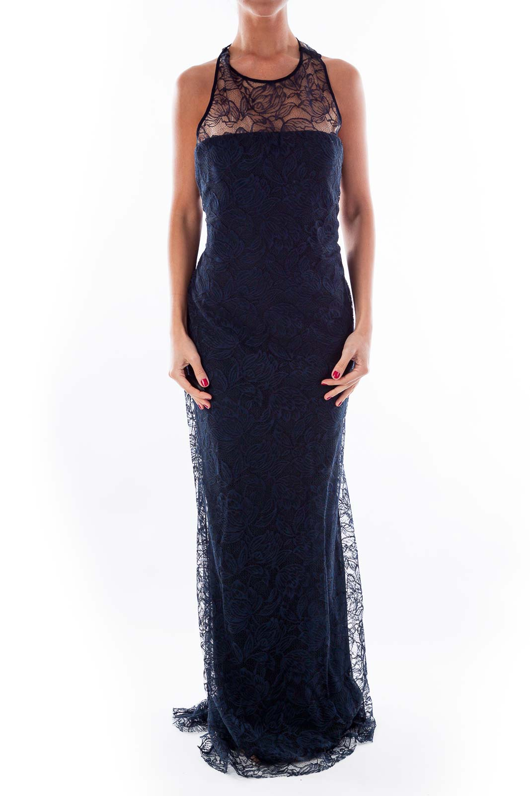 Navy Lace Evening Gown Front