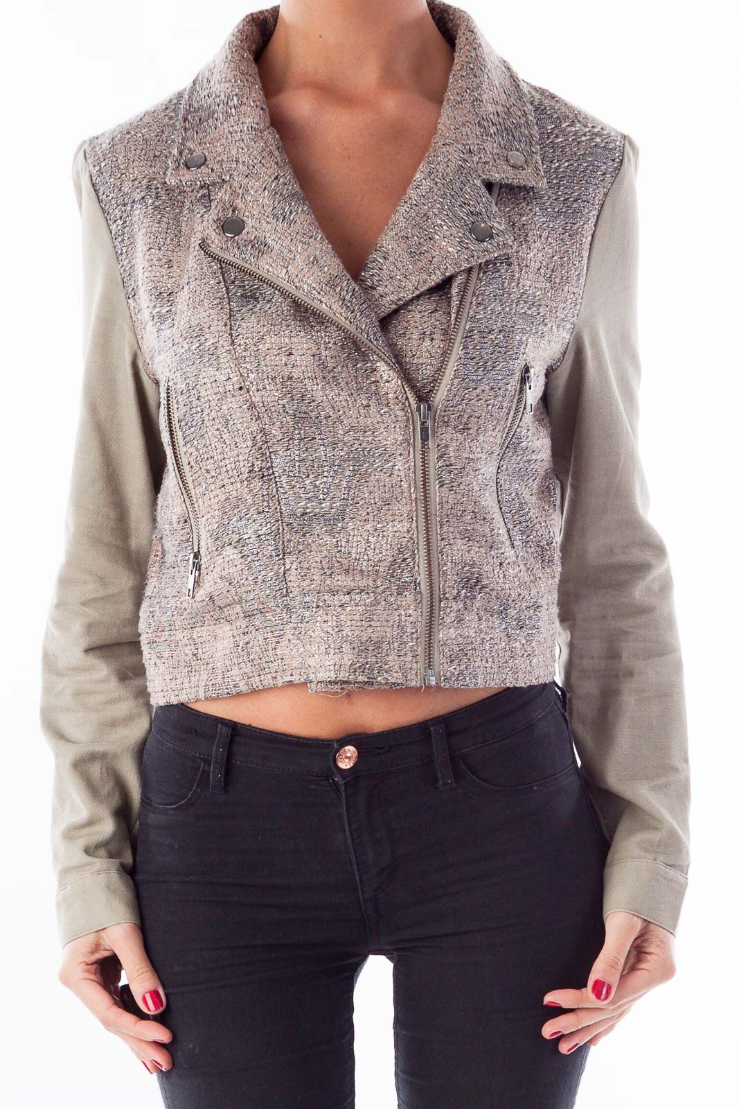 Taupe & Silver Crop Bomber Jacket Front
