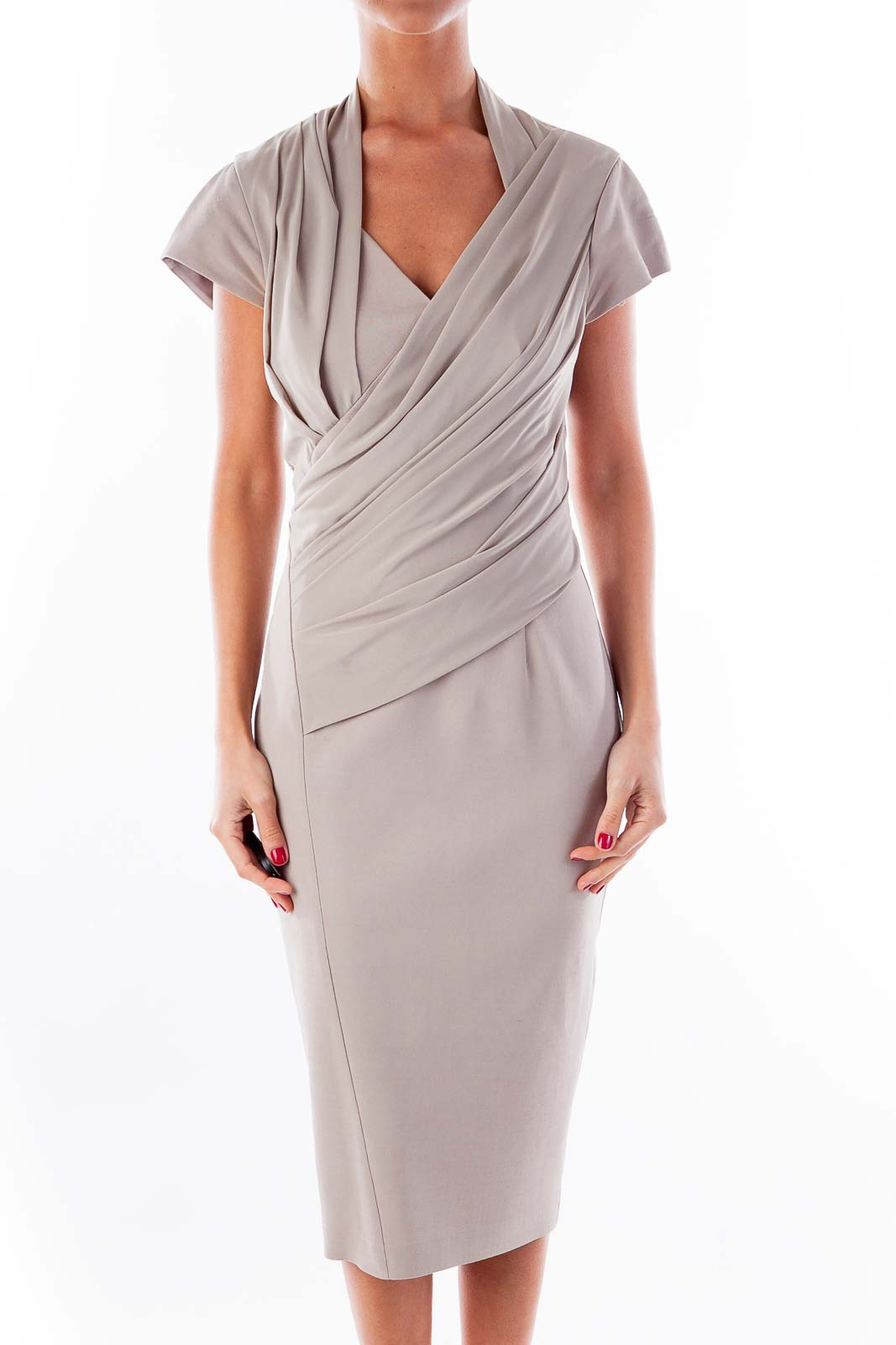 Beige Fitted Dress Front
