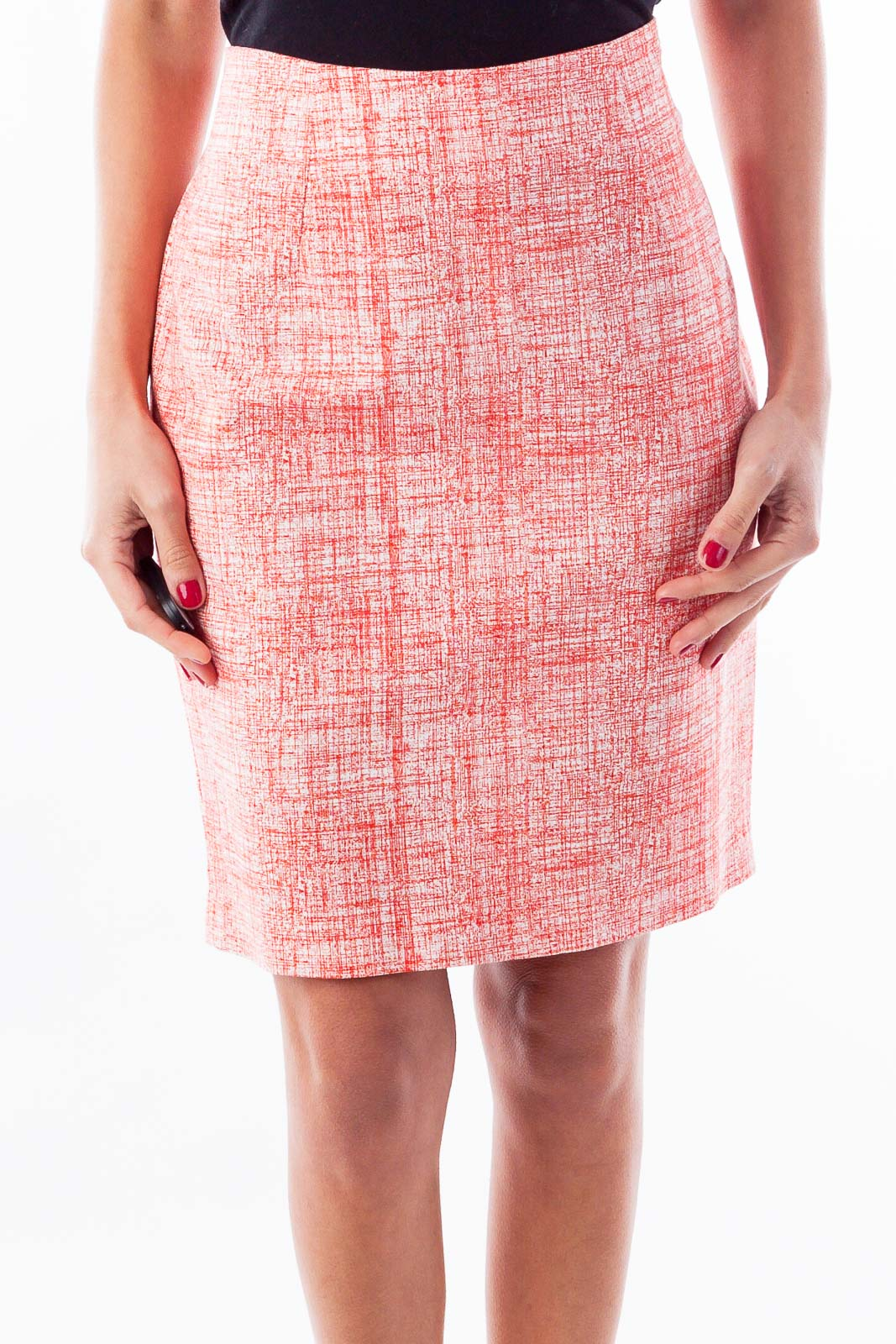 Red & White Print Pencil Skirt Front