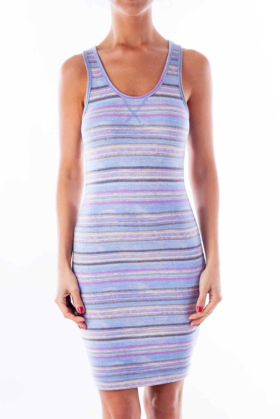 Purple & Blue Stripe Fitted Dress Front