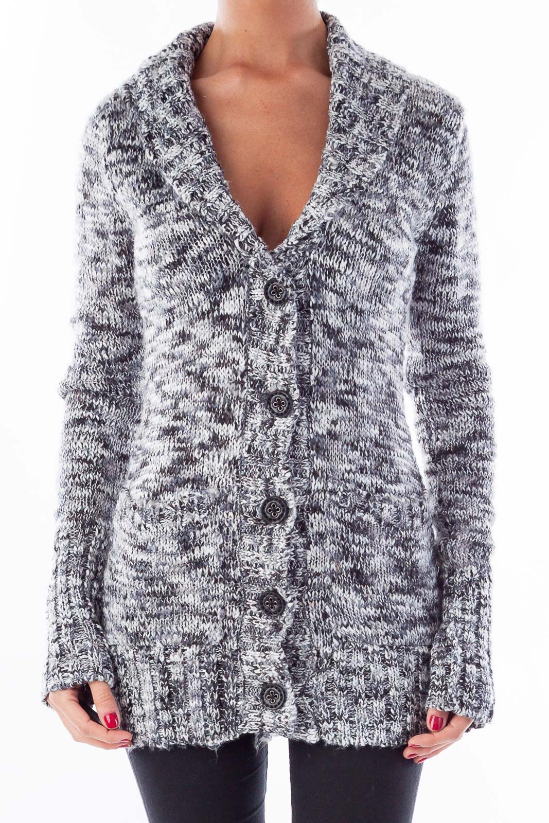 Gray & White Chunky Sweater Front