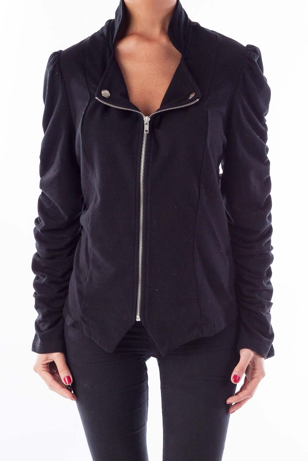 Black Zippered Jacket Front