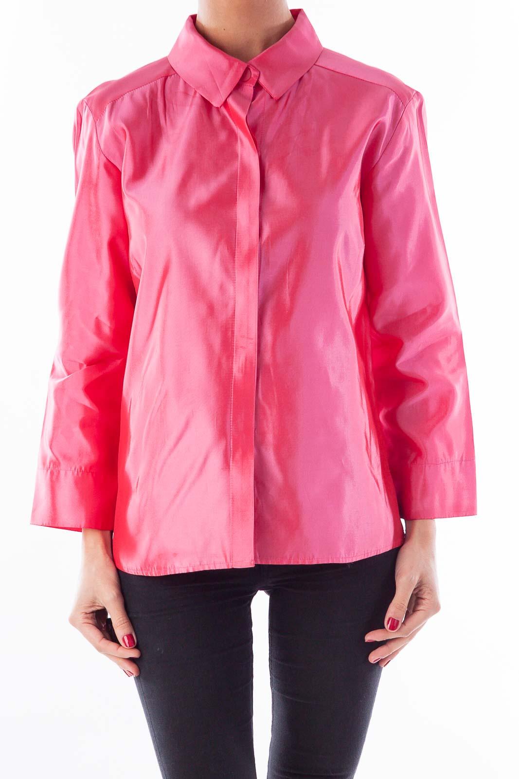 Pink Satin Button Shirt Front