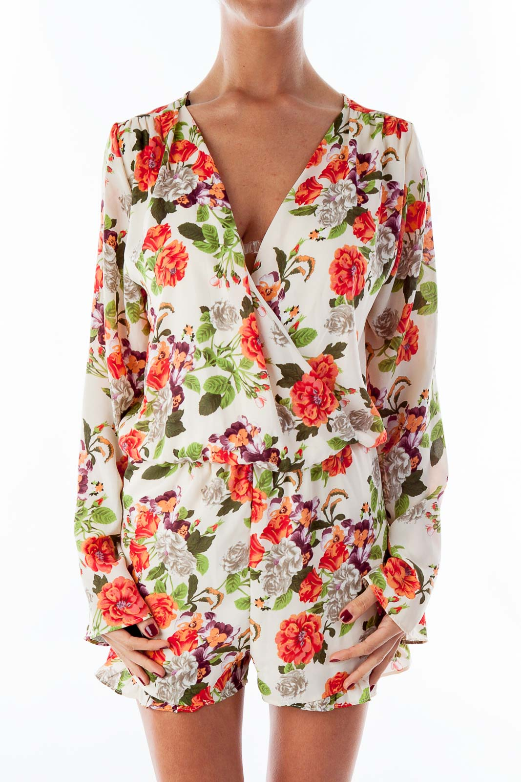 Floral Print Long Sleeve Romper Front