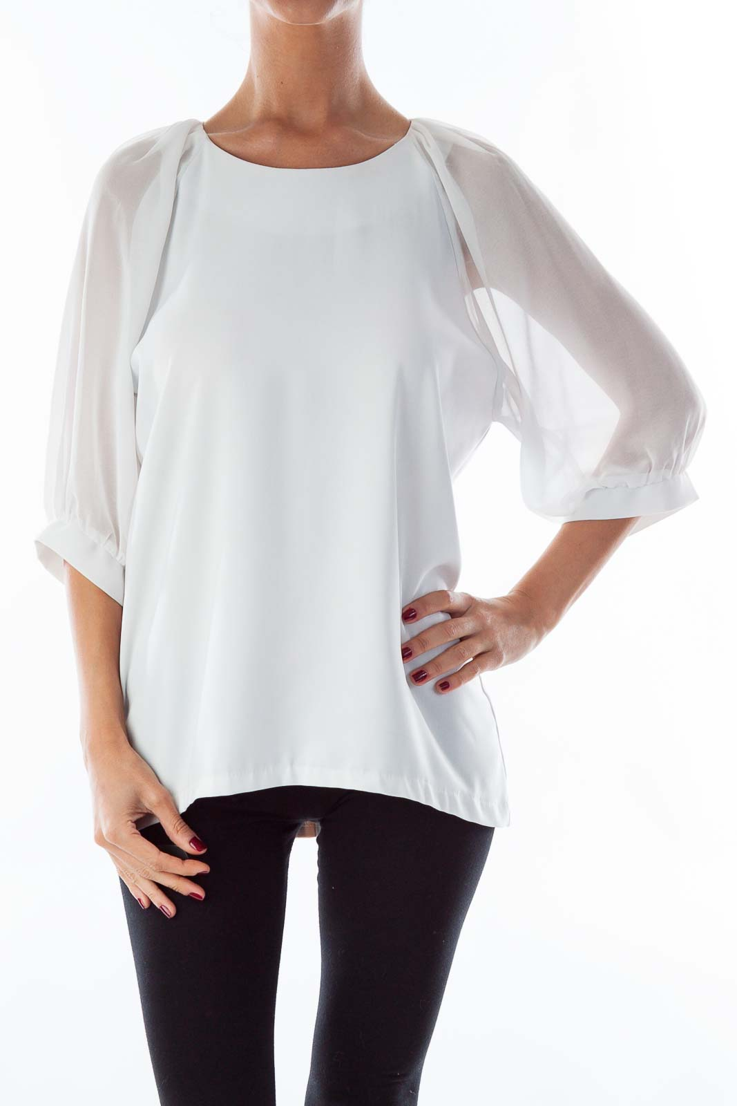 White Loose Blouse Front