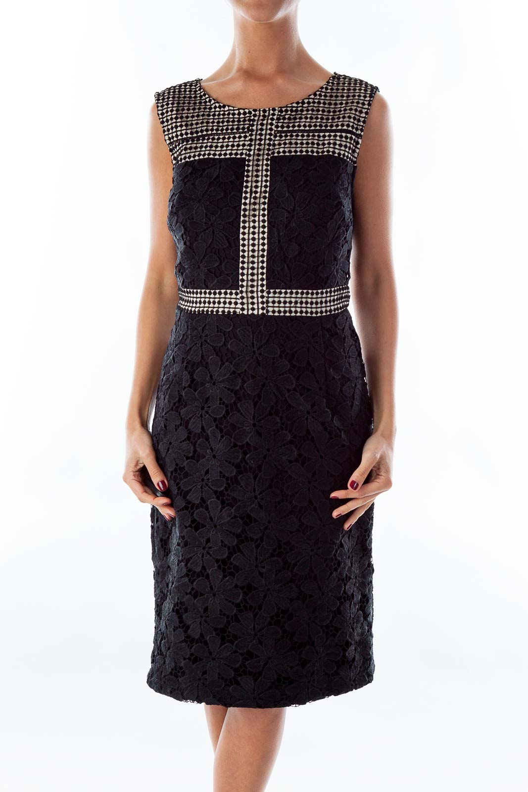 Black Lace Fitted Dress Front